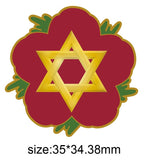 Star Of  David Remembrance Flower Lapel Pin