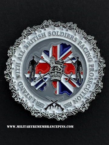 Stand With Soldiers Facing Prosecution Colours Lapel Pin