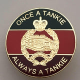 Royal Tank Regiment 'Always A Tankie' Round Colours Lapel Pin.