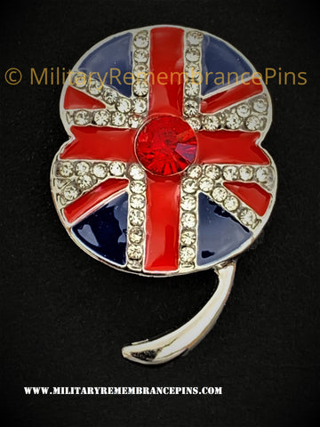Union Flag Red White Blue Remembrance Flower Lapel Pin