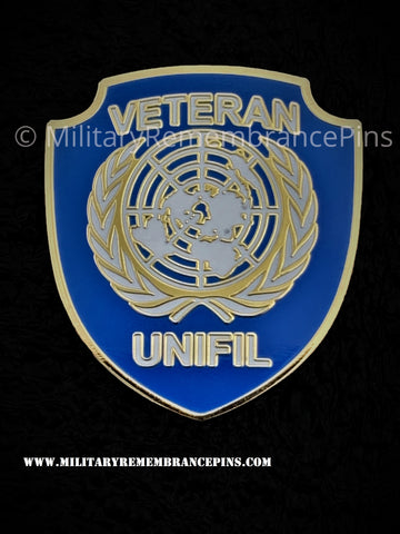 United Nations UN UNIFIL Lebanon Colours Shield Lapel Pin