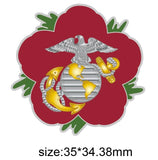 United States Marine Corps USMC Remembrance Flower Lapel Pin