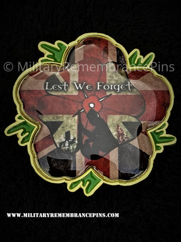Union Jack Lest We Forget Remembrance Flower Lapel Pin