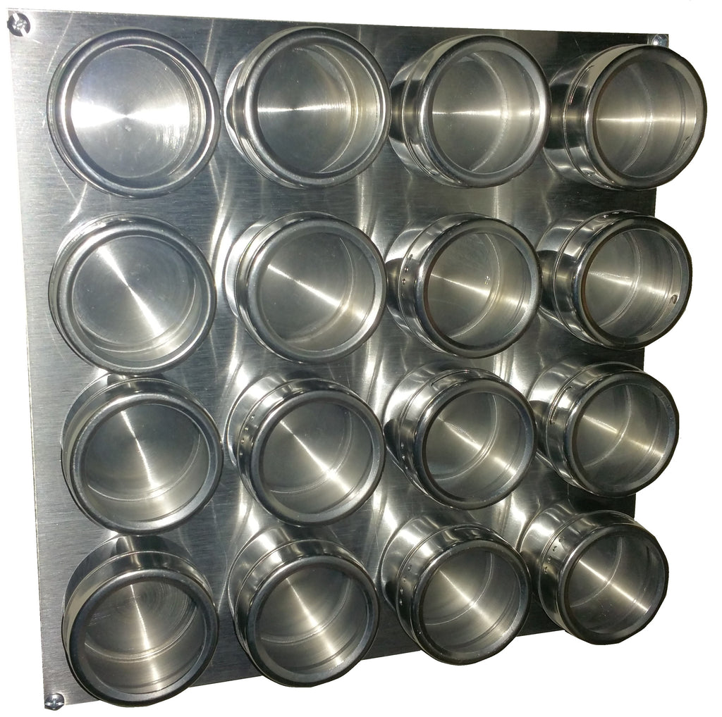 magnetic spice rack (  or  jars with labels) – splendid  - sale x stainless steel plate (jars not included)  spice labels