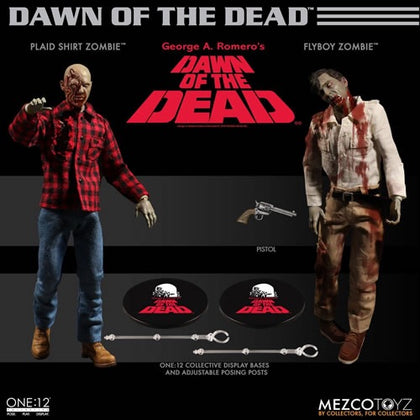 Mezco One:12 Dawn of The Dead 2 Pack Flyboy & Plaid Shirt Zombie