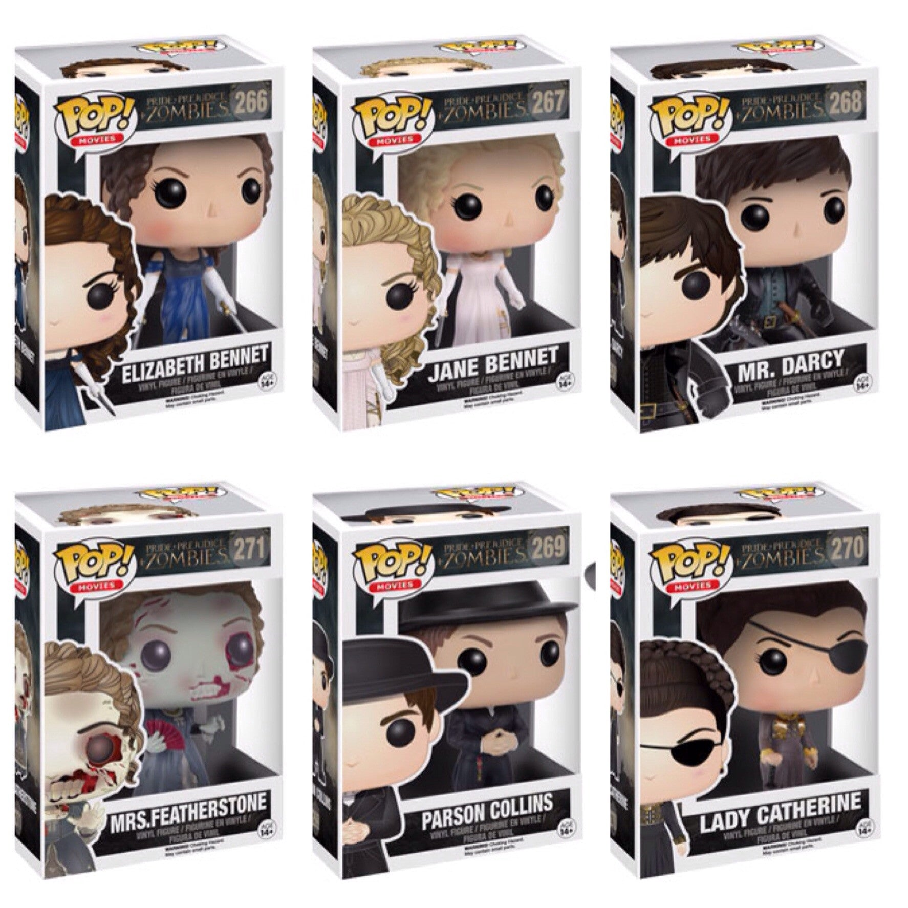 Pop! Movies Pride Prejudice and Zombies: Set of 6