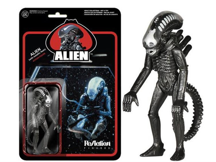 "Alien 3.75"" ReAction Retro Action Figure - Alien (Metallic)"
