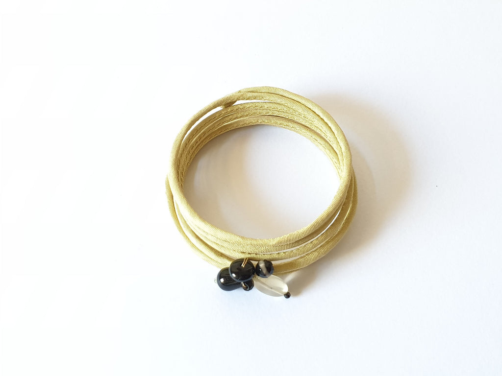Spiral multi-wire rigid silk bracelet with natural stones