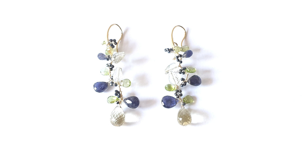 Pendant earrings with lemon quartz, iolite, peridot, prasiolite, blue spinel