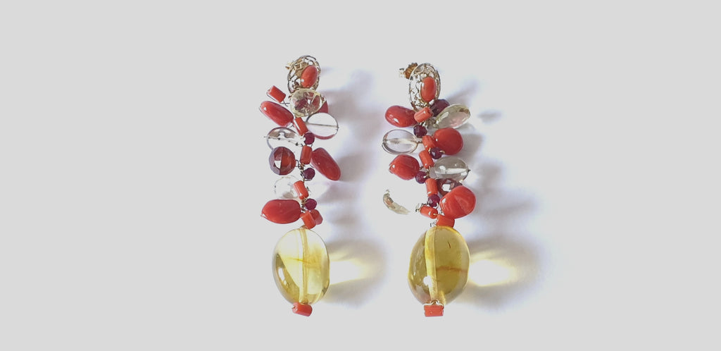 Pendant earrings with amber, red coral, lemon quartz and garnet