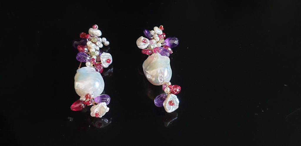 Pendant earrings with baroque pearls, rubies and amethysts