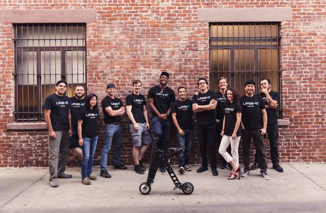 team at urb-e foldable electric scooter in pasadena, california