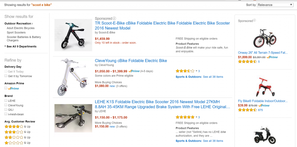 scoot e bike amazon search