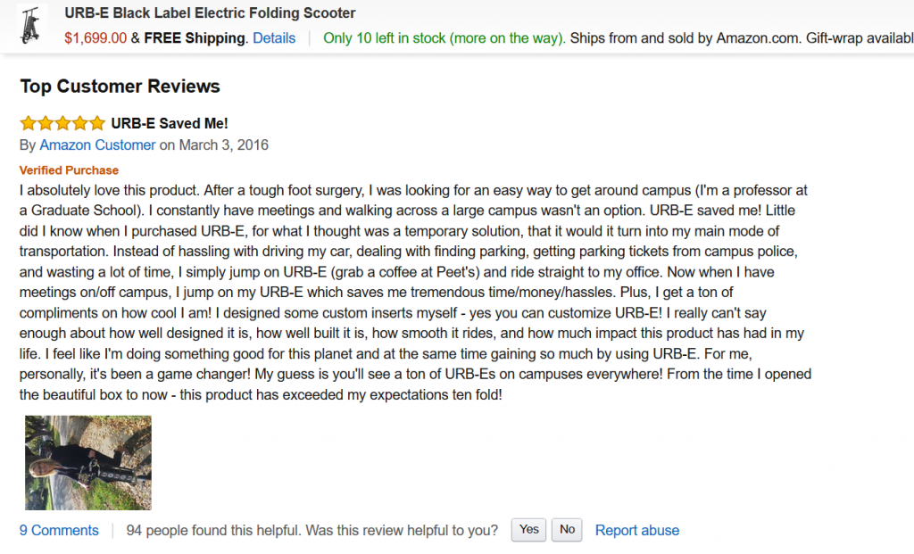 URB-E folding electric scooter top amazon review