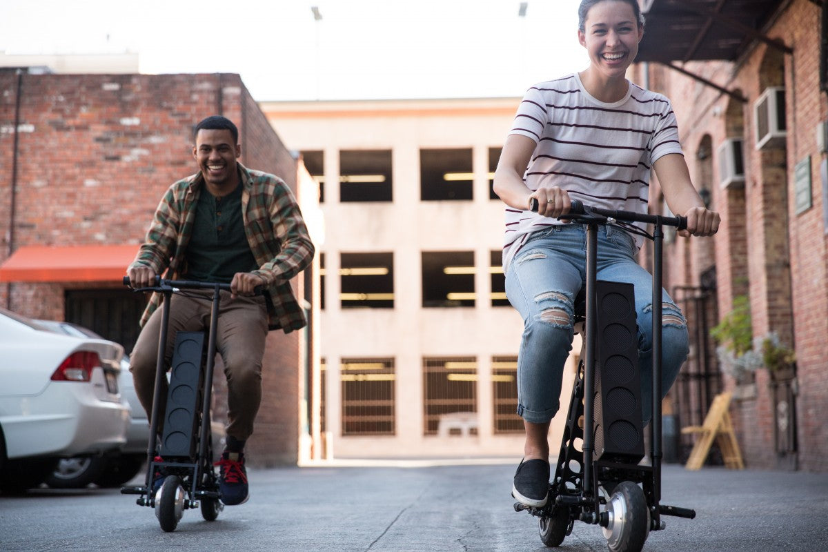 URB-E foldable electric scooters commuting in pasadena, california