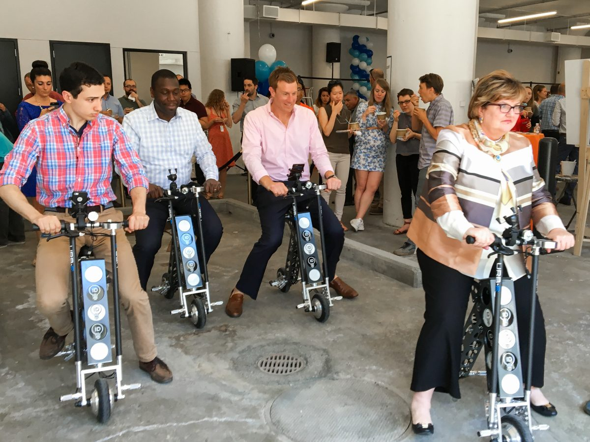 urb-e foldable electric scooters at jamestown boston innovation and design building