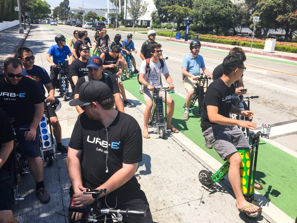 urb-e foldable electric scooters bike lane santa monica ca