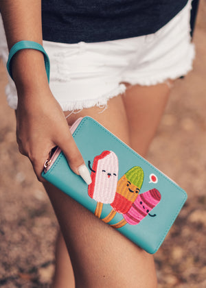 Cute Popsicle Wallet Paletas Clutch Zip Around Model Photo by Christy Kaye