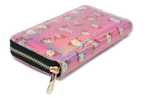 Pink Cow Skull Clutch Zip Around Wallet Cowgirl