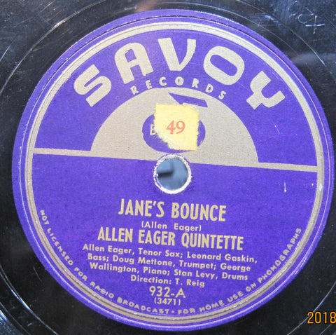 Allen Eager Quintette - Jane's Bounce b/w Stan Getz Quartet - Don't Worry About Me