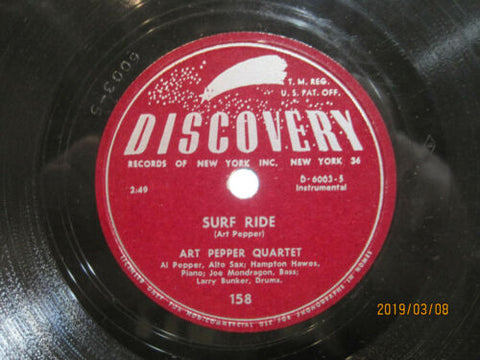 Art Pepper Quartet - Surf Ride b/w Holiday Flight
