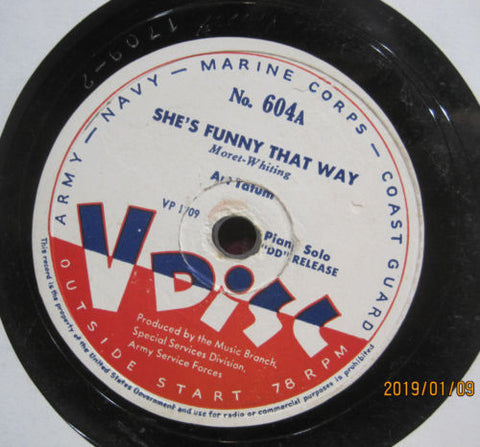 Art Tatum - She's Funny That Way b/w Gershwin Medley V-DISC