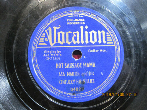 Asa Martin and His Kentucky Hillbillies - Hot Sausage Mama b/w Knock-kneed Susie Jane