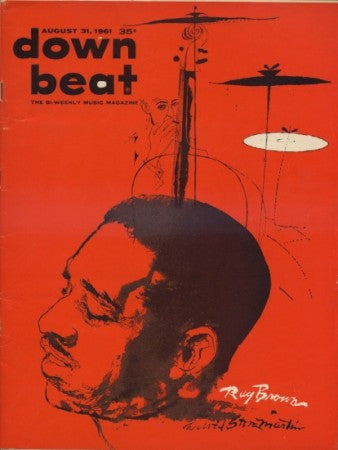 Down Beat - August 31, 1961 - Ray Brown Cover Painting By David Stone Martin