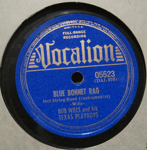 Bob Wills and His Texas Playboys - Blue Bonnet Rag b/w Medley of Spanish Waltzes
