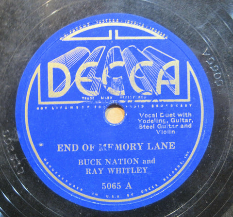 Buck Nations & Ray Whitley - End of Memory Lane b/w Ramshackled Shack on the Hill