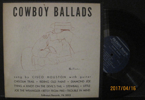 "Cisco Houston - Cowboy Ballads Folkways 10"" Lp"
