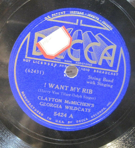 Clayton McMichen's Georgia Wildcats - I Want My Rib b/w Yum Yum Blues