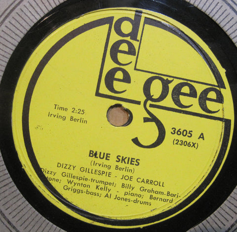 Dizzy Gillespie & Joe Carroll - Blue Skies b/w Pop's Confessin'
