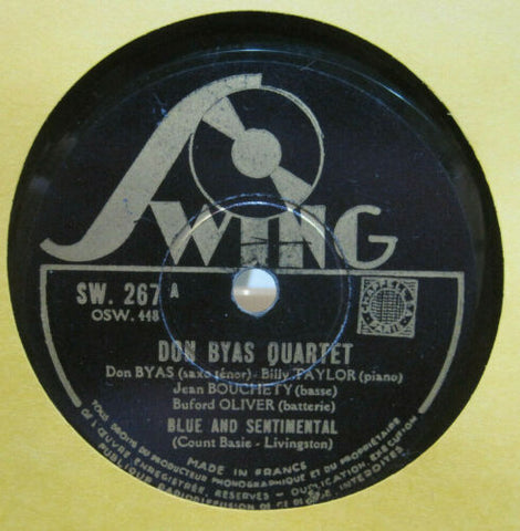 Don Byas Quartet - Blue and Sentimental b/w Ain't Misbehavin'