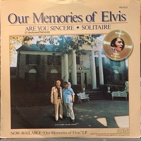Elvis Presley - Are You Sincere / Solitaire w/ PS