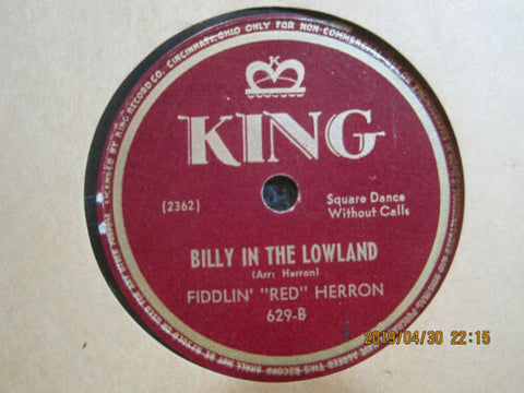 "Fiddlin' ""Red"" Herron - Listen To The Mockingbird b/w Billy In The Lowland"