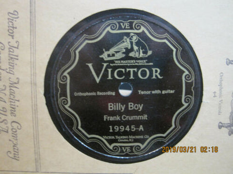 Frank Crummit - Billy Boy b/w Grandfathers Clock