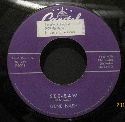 Gene Nash - I Want A Love b/w See-Saw