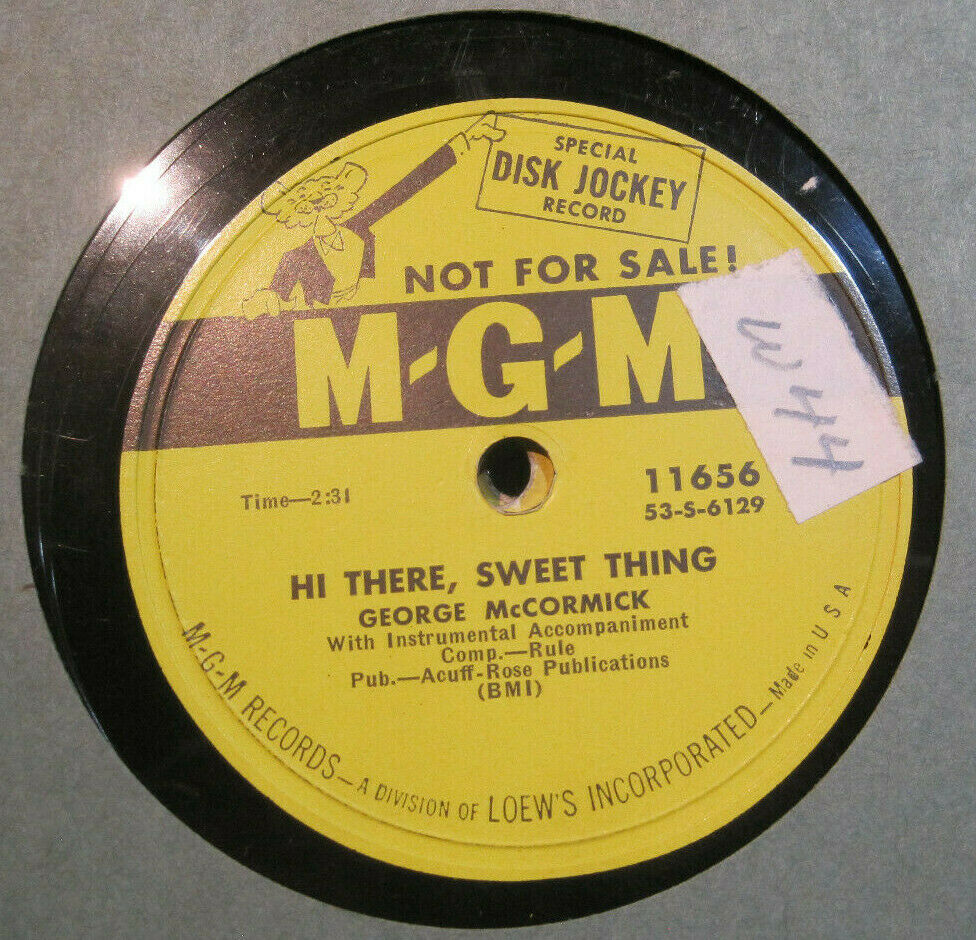 George McCormick - Hi There, Sweet Thing b/w I Guess You Don't Care