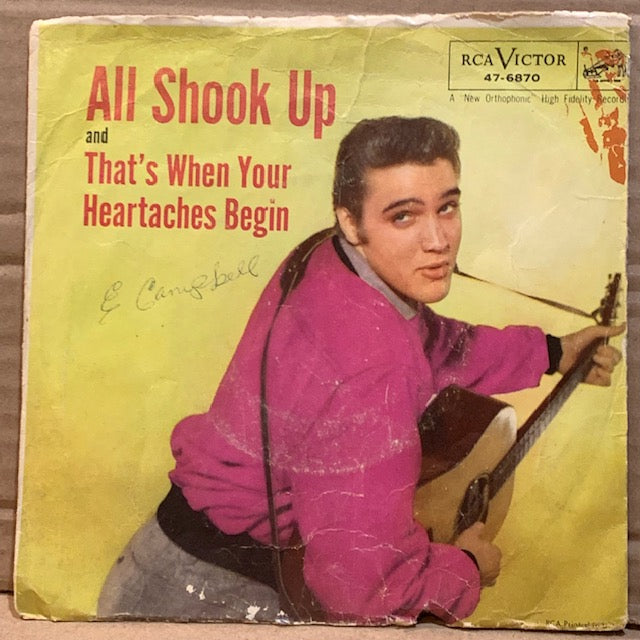 Elvis Presley - All Shook Up / That's When Your Heartaches Begin w/ PS