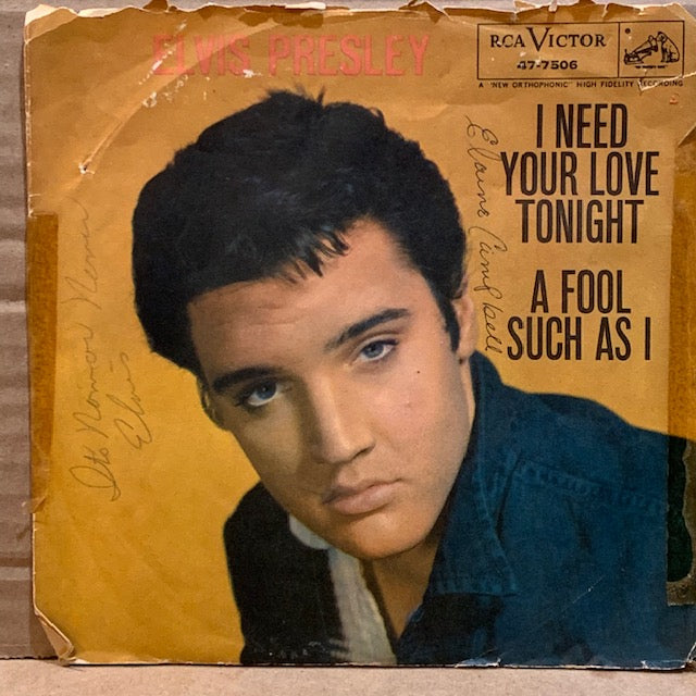 Elvis Presley - A Fool Such as I / I Need Your Love Tonight w/ PS