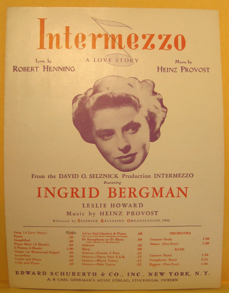 Intermezzo - 1940 Sheet Music - Ingrid Bergman