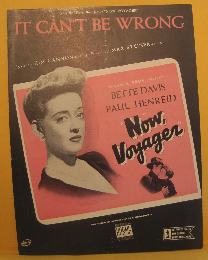 It Can't Be Wrong - 1942 Sheet Music - Bette Davis