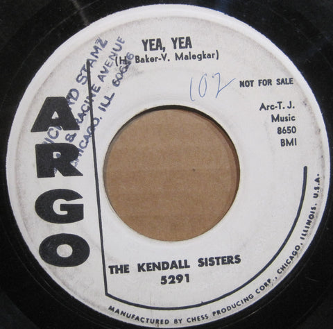 Kendall Sisters - Yea, Yea b/w Won't You Be My Baby  PROMO