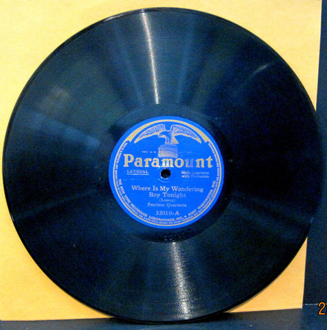 "Peerless Quartet ""Where Is My Wandering Boy"" b/w Mabel Richardson & Marion Cox ""Rock Of Ages"""