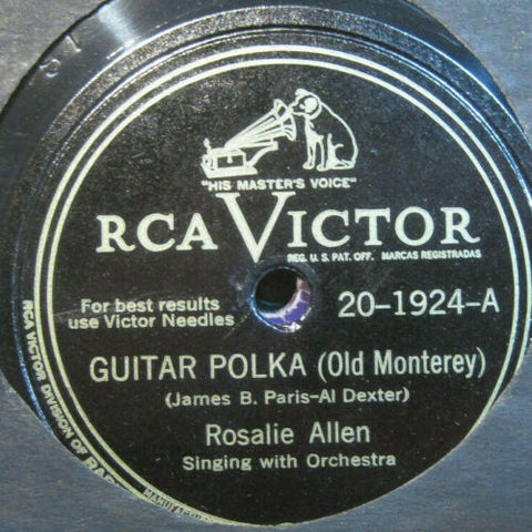 Rosalie Allen - Guitar Polka b/w I Want To Be A Cowboy's Sweetheart