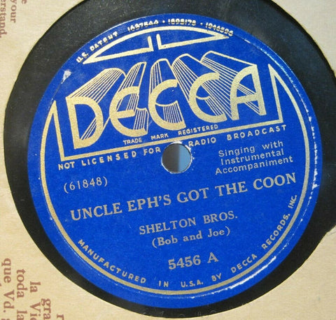 Shelton Brothers - Uncle Eph's Got The Coon b/w New Cinda Lou
