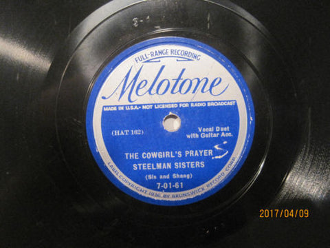 Steelman Sisters - Cowgirl's Prayer b/w Lonesome Valley Sally