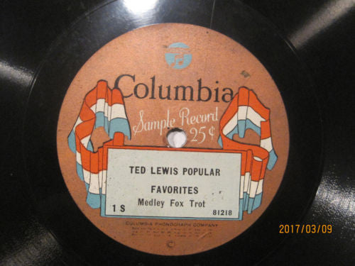 Ted Lewis Popular Favorites - Columbia Banner 78rpm Sample