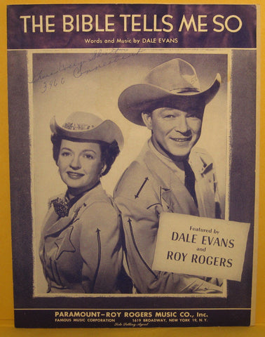 The Bible Tells Me So - 1955 Sheet Music Roy Rogers & Dale Evans